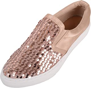 ABSOLUTE FOOTWEAR Womens Slip On Glitter/Sequin Skater Pumps/Shoes/Trainers/Plimsolls