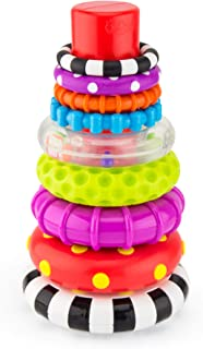 Sassy Stacks of Circles Stacking Ring STEM Juguete de aprendizaje, 9 piezas, a partir de 6 meses