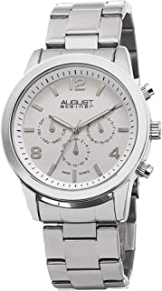 August Steiner Men's Multifunction Watch - 3 Multifunction Subdials Include Day, Date and GMT on Stainless Steel Bracelet ...