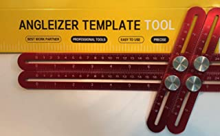 Multi Angle Measuring Ruler - Heavy Duty Premium Full Aluminum Alloy Construction - Universal Template Tool/Layout Measurement Tool for Contractors, Handymen, DIYers, Craftsmen - Red