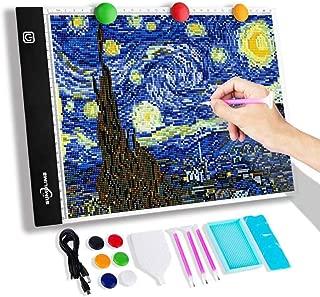 A4 Diamond Painting Tracing Light Box - Ultra Bright & Portable LED Light Tracer Pad, 3 Adjustable Brightness & 5D Diamond Painting Tools for Drawing, Sketching, Weeding Vinyl, Tatoo