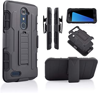 Compatible for ZTE ZMAX Pro/ZTE Carry Z981/ Blade X Max Z983 (T-Mobile, Cricket, Metro PCS) Hybrid Rugged Kickstand Grip Armor Tough Dual Layer Case with Belt Clip Holster (Black)