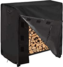 REDCAMP 4 Foot Firewood Rack Cover Waterproof, Sturdy Oxford Heavy Duty Outdoor Wood Log Cover for Firewood, Black