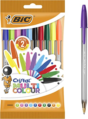 BIC Cristal Multicolour Bolígrafos Punta Ancha (1,6 mm) – Colores Surtidos, Blíster de 10 Unidades, ideal para dibujo...