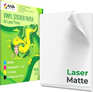 """Printable Vinyl Sticker Paper for Laser Printer - Matte White - 15 Self-Adhesive Sheets - Waterproof Decal Paper - Standard Letter Size 8.5""""x11"""""""