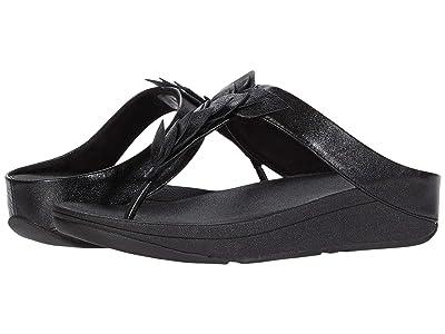 FitFlop Fino Leaf Toe-Thongs (All Black) Women