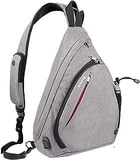 MRang Leder Herrentaschen Brusttasche Schultertasche Sling Bag Crossbody Rucksack Mit USB Ladeanschluss Kopfhörer Loch Für Damen Herren Outdoor Sport Gym Wandern Radfahren