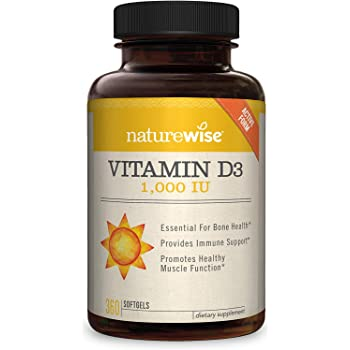 NatureWise Vitamin D3 1,000 IU (1 Year Supply) for Healthy Muscle Function, Bone Health, and Immune Support Non-GMO and Gluten-Free in Cold-Pressed Organic Olive Oil Capsule [360 Count]