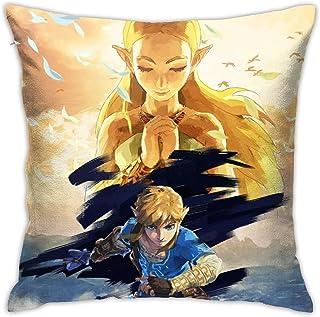 RVEVHGAHHA Juego de dibujos animados leyenda de Zelda almohada súper suave funda de almohada cuadrada ligera decoración del hogar con cremallera invisible funda de almohada 45,7 x 45,7 cm.