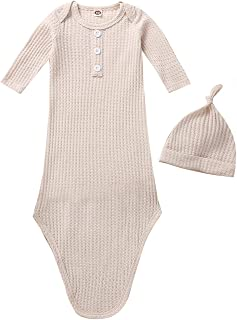Baby Cotton Knotted Sleeper Gown Unisex Boys Girls Sleepsuits with Mitten Cuffs and Matching Hat Baby Coming Home Outfit