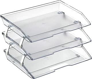 Acrimet Facility 3 Tier Letter Tray Side Load Plastic Desktop File Organizer (Clear Crystal Color)