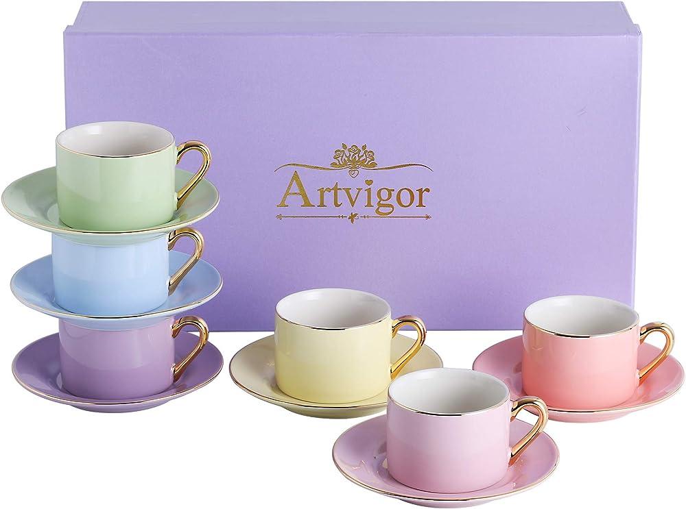 Artvigor , servizio da 6 tazze per il caffe` , in porcellana ART-CC002
