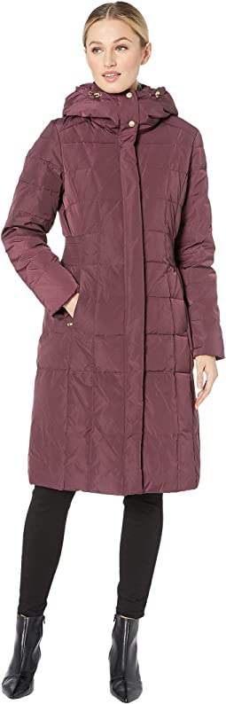 Quilted Down Coat with Bib Elasticated Side Waist Detail and Oversized Hood