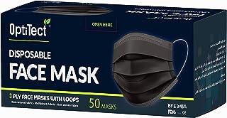 50 Pieces OptiTect Disposable Face Mask Black | Health Mask | Blue, White, Black Colors Available | 50 Pieces and 2000 Pie...