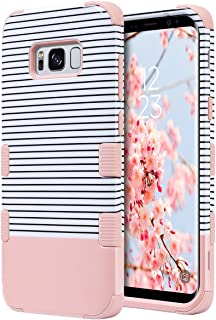 ULAK Galaxy S8 Case, 3 in 1 Shield Anti-Slip Shock Absorbing Protective Case with Hybrid Cover Soft Silicone + Hard PC Design for Samsung Galaxy S8, Minimal Stripes Rose Gold