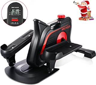 ANCHEER Desk Elliptical Trainer Pedal Exerciser Bike for Home Office Exercise, Mini Stepper Equipment with Display Monitor & Adjustable Resistance - Quiet & Compact, Easy to Assemble Under Desk Cycle
