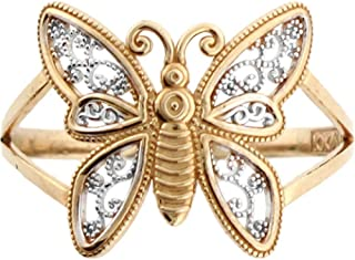Jewelry Liquidation 10k Two Tone Real Gold Filigree Butterfly Ring
