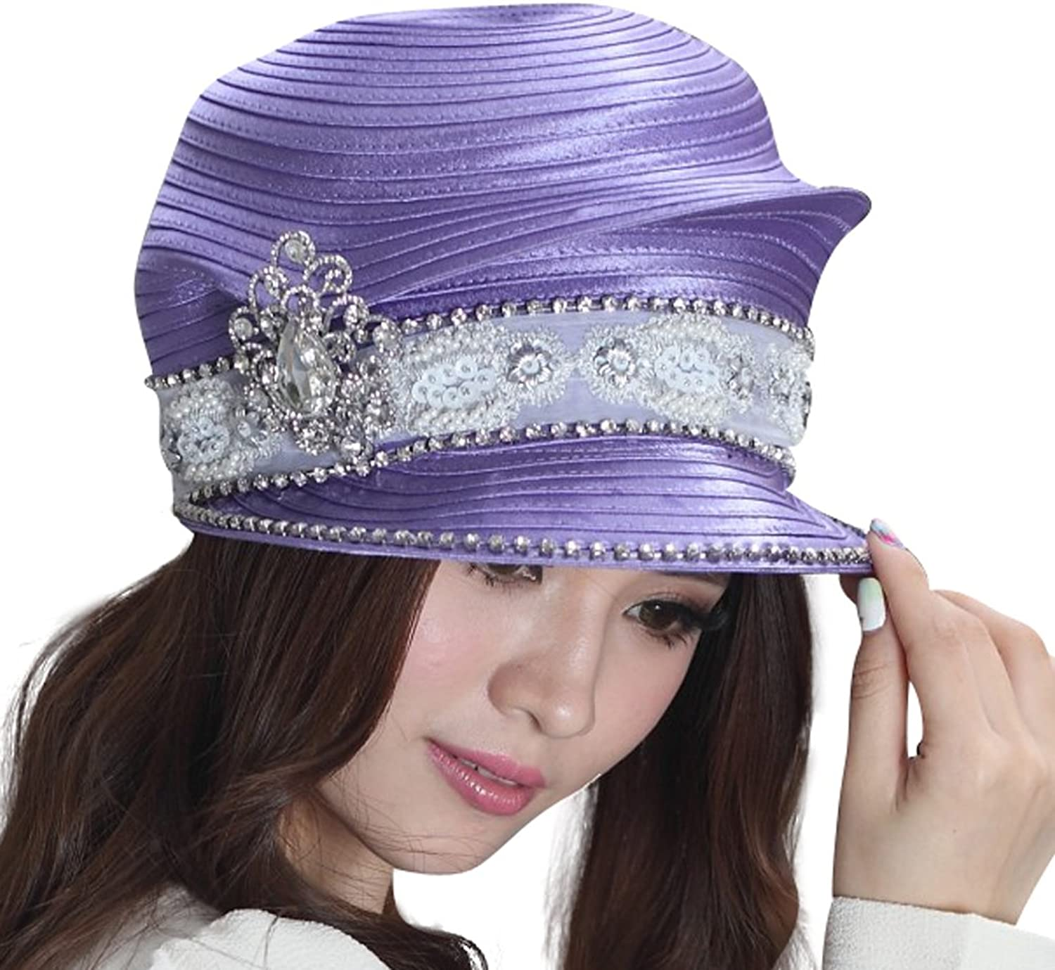 June's Young Elegant Church Hat for Women Satin Hat Fabric Twist Hat Brooch with Flower Decoration (purple)