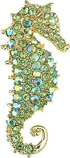 Aurora Borealis Crystal Rhinestone Seahorse Fish Convertible to Pendant Animal Brooch Pin