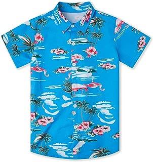 Goodstoworld Boys Teens Short Sleeve Button Down Shirts Summer Galaxy Cat Wolf Novelty 3D Print Dress Shirts 7-14 Years
