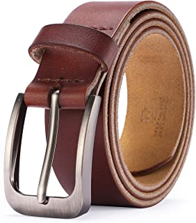 XHtang Men Genuine Leather Dress Belt with Single Prong Buckle