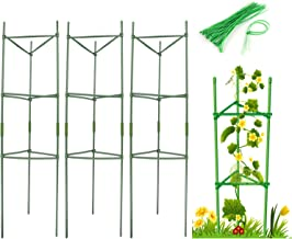 GROWNEER 3 Packs 34 x 48 Inches Green Foldable Cucumber Trellis with 328 Feet Twist Ties Climbing Plants Vegetables Flowers for Cucumber