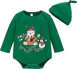 Hinzonek Neugeborene Weihnachten Strampler Kleinkind Bär Gitarre Body Jumpsuit Langarm Homewear Kleidung mit Hut Grün