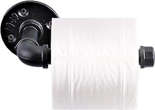 imqoq de estilo urbano industrial tubo de hierro de metal montado en la pared soporte de papel higiénico rodillo rústico