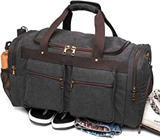 BLUBOON Canvas Duffel Bag Vintage Weekender Overnight Bag Travel Tote Luggage Sports Duffle
