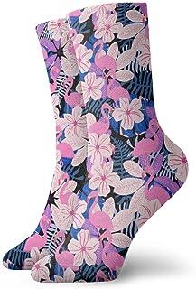 Jhonangel, Equipo de calcetines con estampado de hojas y flamencos rosados para hombres, mujeres, niños, trekking, rendimiento, exteriores 30 cm / 11.8 pulgadas