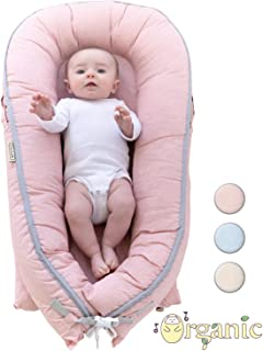 Organic Newborn Lounger | Water-Proof Baby Nest | Portable Bed for Infants & Toddlers 0-12 Month | for Girls and Boys | Use as Bassinet, Play Pillow, Mobile Crib (Pink)