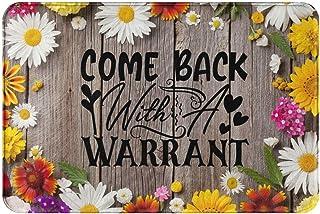 Front Door Mat Entrance Floor Mat Rug,Come Back with A Warrant Doormat,Wooden Sunflower Washable Indoor Outdoor Rugs,Funny...