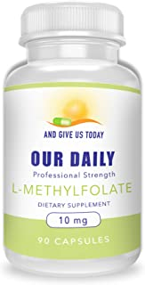 Our Daily Vites L-Methylfolate 10 mg / 10000 mcg Maximum Strength Active Folate, 5-MTHF, Filler Free, Gluten Free, Non-GMO, Vegetarian Capsules 90 Count (3 Month Supply) (90)