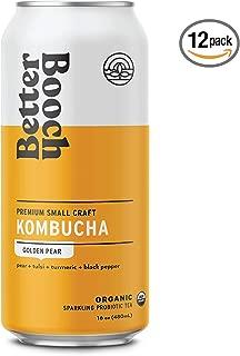 Better Booch Kombucha 12 Pack (16oz. ea) - USDA Organic Small-Batch - Packed with Probiotics & Antioxidants (Golden Pear)