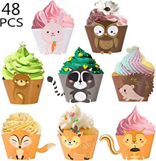 HomyPlaza Animal Cupcake Wrappers 48Pcs Woodland Baby Shower Cakes Papers Liner Decorations Birthday Party Supplies Colorful(48)