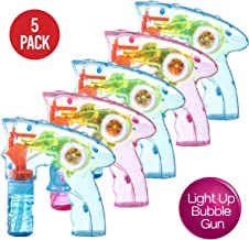 Prextex Pack of 5 Wind up Bubble Gun Shooter LED Light up Bubble Blower Indoor and..