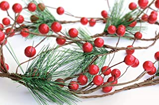 OLYPHAN Christmas Garland Red Berry, Artificial Pine Needle Holiday Greenery (Evergreen) Fireplace Décor & Home Xmas Decor...