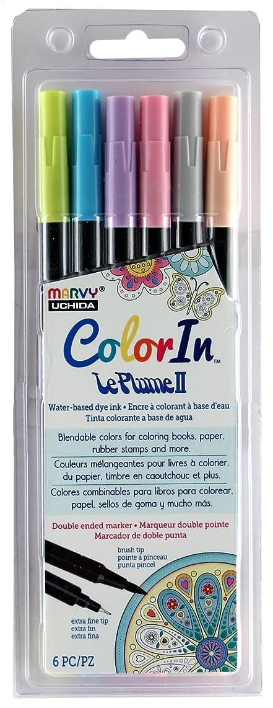 UCHIDA ColorIn, 6 Piece, LePlume II Book Pens, Pastel Colors