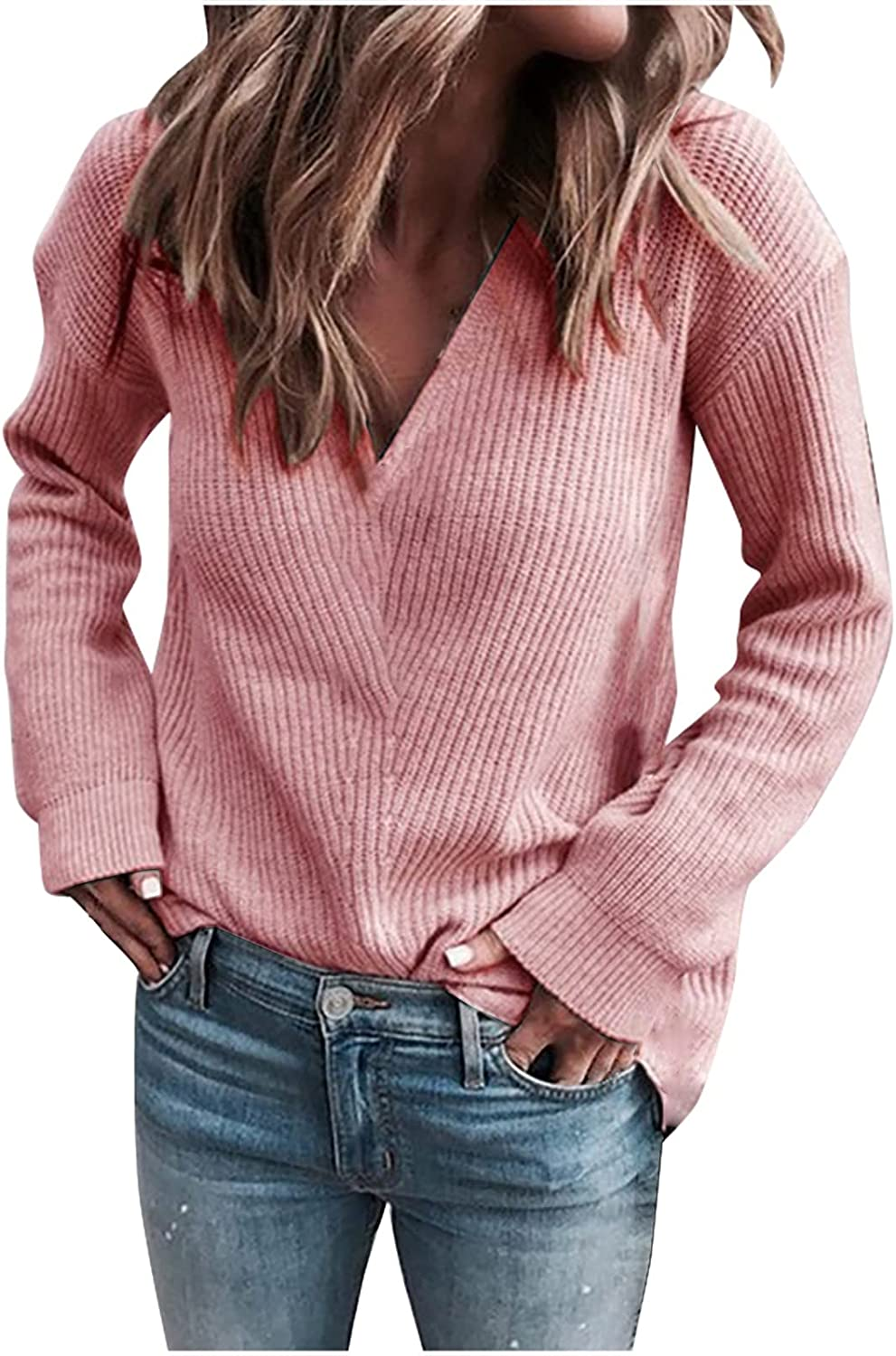iLUGU Women's Casual V Neck Sweater Ribbed Knitted Solid Long Sleeve Loose Pullover Tops Blouse