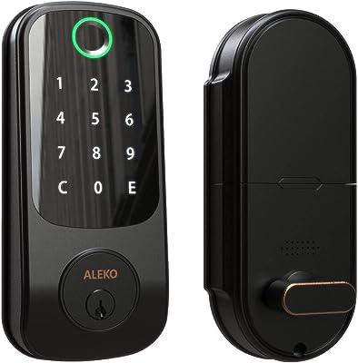 ALEKO 3-in-1 Keyless Entry Smart Door Fingerprint Lock with Touchscreen Keypad - Black