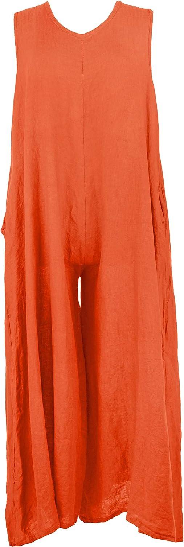 TEXTURE Ladies Women Italian Lagenlook Plain Sleeveless 2 Pocket Wide Flare Linen Jumpsuit One Size