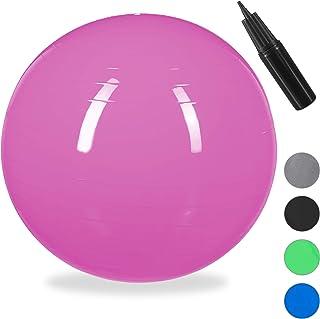 Relaxdays Balón para Ejercicios de Fitness, Pelota de Pilates, Equilibrio, con Bomba de Aire, Ø 55 cm, 1 Ud, Plateado, Unisex Adulto