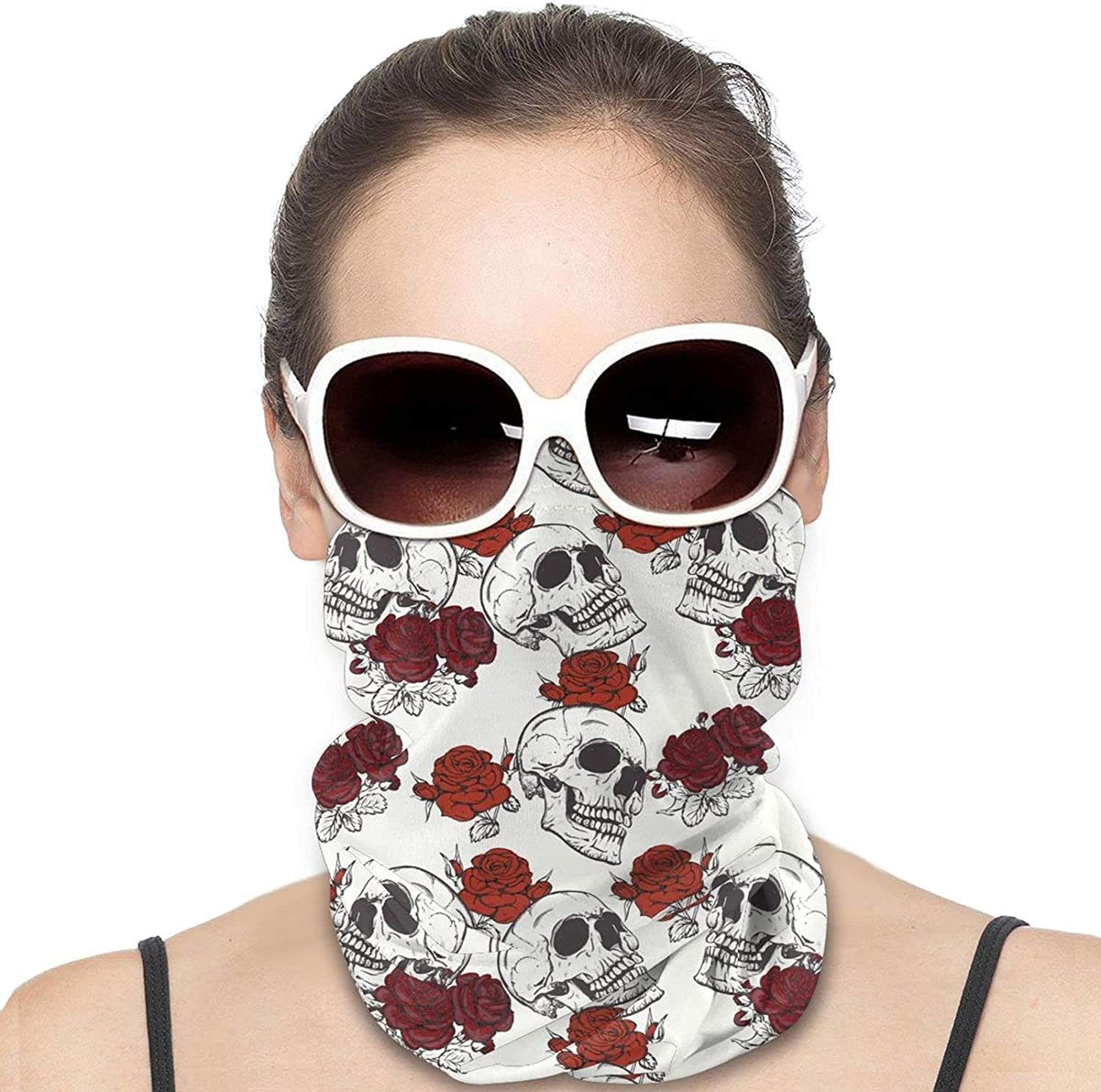 Retro Gothic Skull and Red Rose Round Neck Gaiter Bandnas Face Cover Uv Protection Prevent bask in Ice Scarf Headbands Perfect for Motorcycle Cycling Running Festival Raves Outdoors