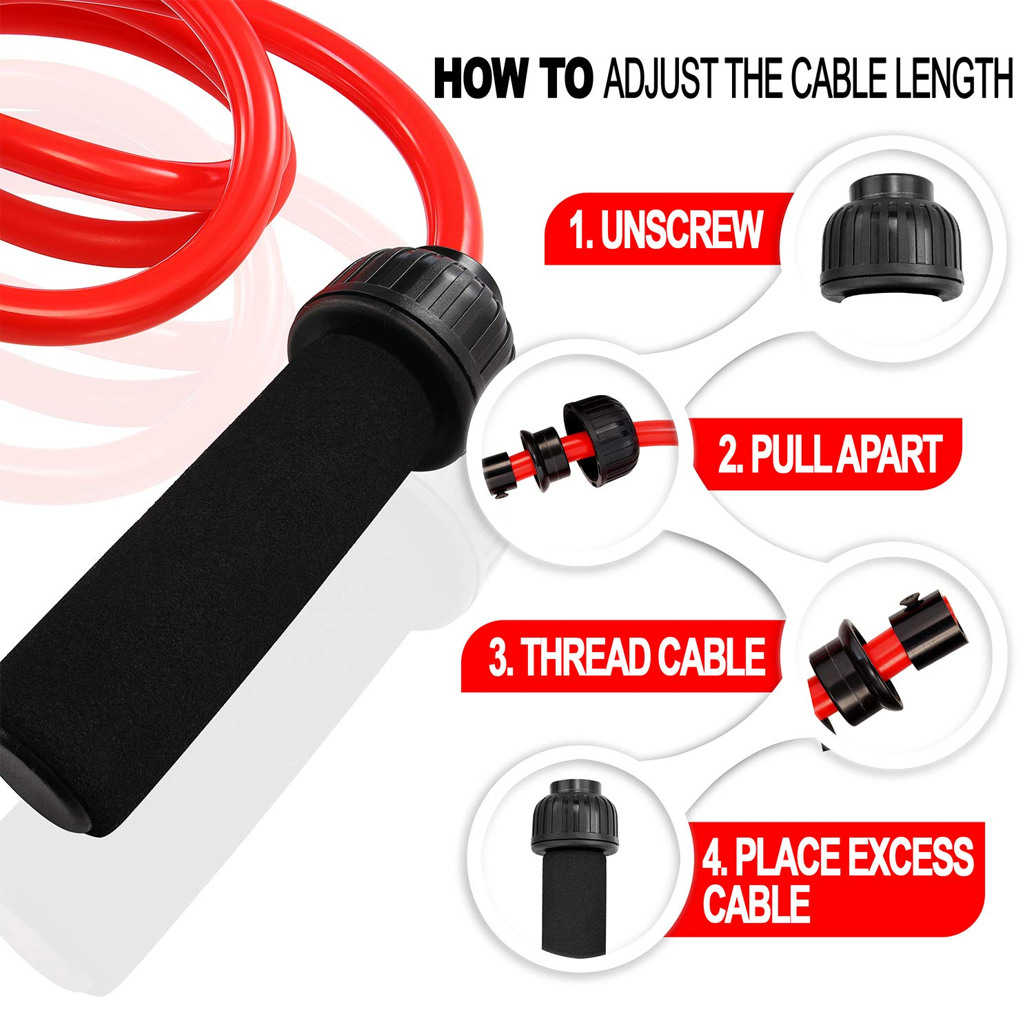 1LB Weighted Jump Rope - Heavy Jump Rope with Memory Non-Slip Cushioned Foam Grip Handles for Fitness Workouts Endurance and Strength Training Solid PVC for Crossfit and Boxing