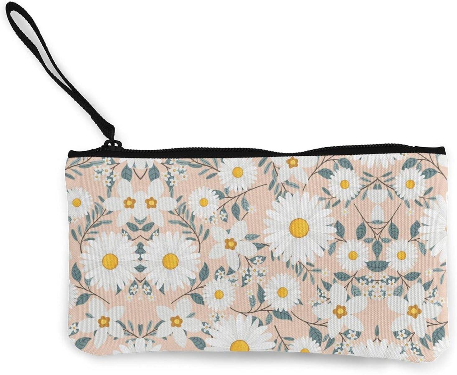 Cute Peach And White Floral Daisy Zipper Pouch/ Canvas Coin Purse Wallet/ Cute Mini Change Wallet For Women/ Pouch Card Holder Phone Storage Bag