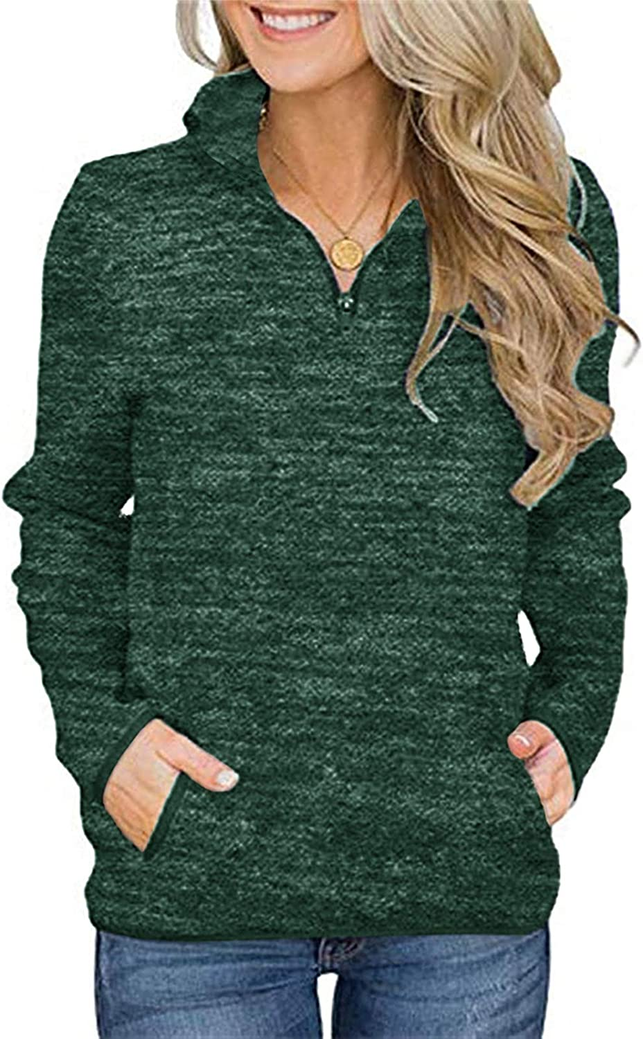 GAMISOTE Women's Long Sleeve High Collar Sweatshirt Quarter Zip Up Pullover Tops with Pockets