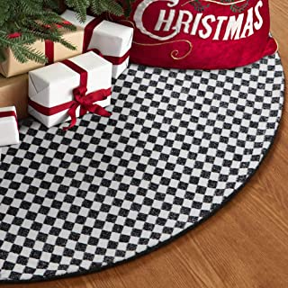 S-DEAL Black and White Buffalo Plaid Christmas Tree Skirt 48 Inches Soft Wool Party Decorations Holiday Ornaments