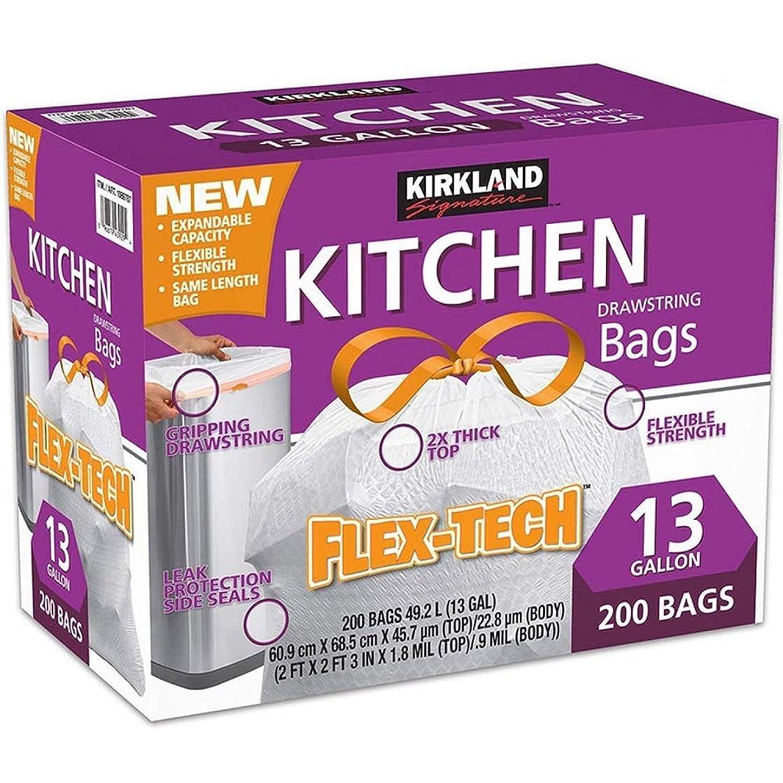 乏しい少ない観察するKIRKLAND カークランド ひも付きゴミ袋 キッチンバッグ 200枚