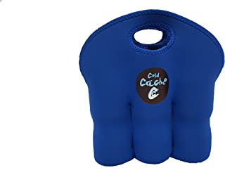 Cold Cache Bottle Can Cooler Insulated 6 Pack Tote | Beverage Storage | Lightweight, Neoprene, Machine Washable, Stain Resistant, Convenient Transport Carrier Flat Storage (Blue)