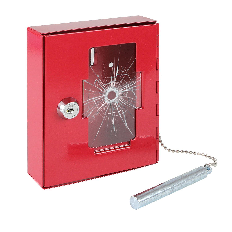 HMF 1021-03 Caja de Llaves de Emergencia con Martillo 15 x 12 x 4 cm, Rojo: Amazon.es: Oficina y papelería